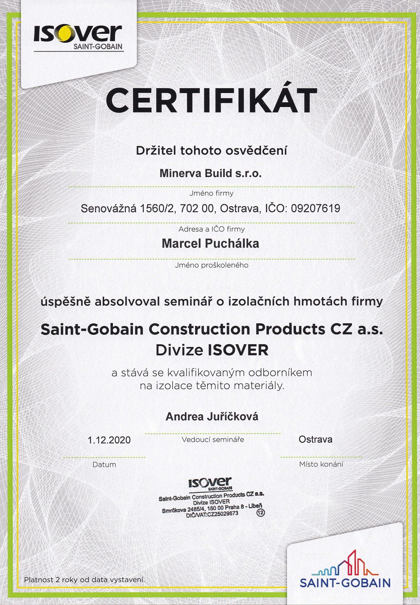 Certifikát firmy ISOVER